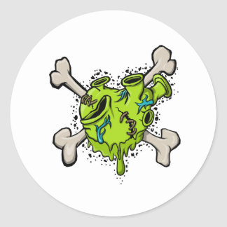 Toxic Heart with Bones 001 (White Back).jpg Round Stickers