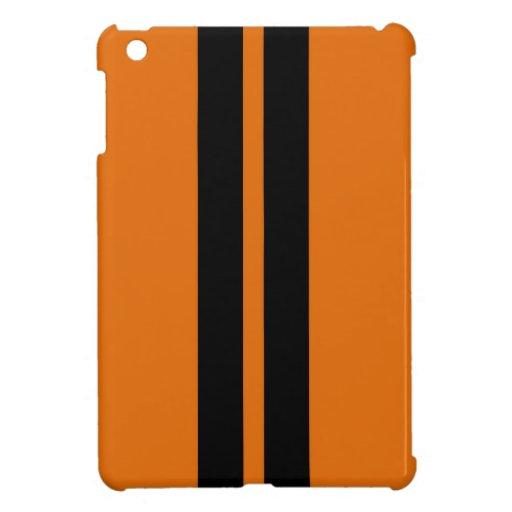 TOXIC ORANGE BLACK RACING STRIPES SPORTS CAR COVER FOR THE iPad MINI