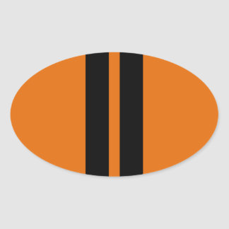 TOXIC ORANGE BLACK RACING STRIPES SPORTS CAR OVAL STICKER