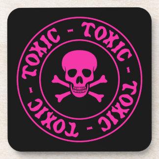 Toxic Pink Skull and Crossbones Beverage Coaster