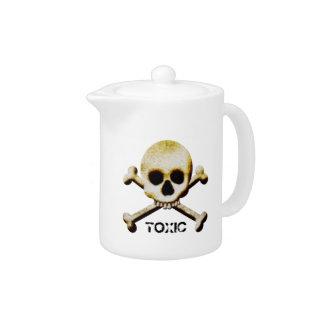 Toxic Poison Skull Crossbones Halloween Prop Teapot