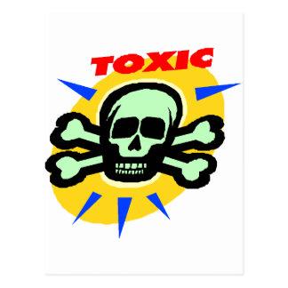 Toxic skull and bones graphic postcard