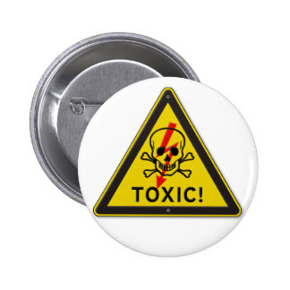 Toxic Skull and Crossbones Warning Road Sign Pinback Button