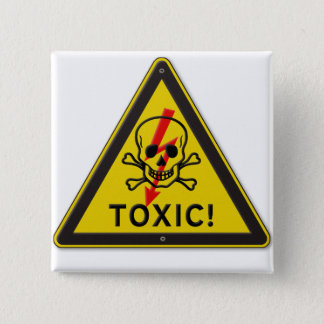 Toxic Skull and Crossbones Warning Road Sign Button