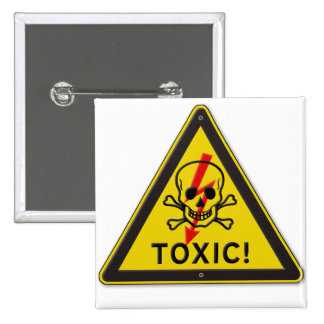 Toxic Skull and Crossbones Warning Road Sign Pinback Buttons