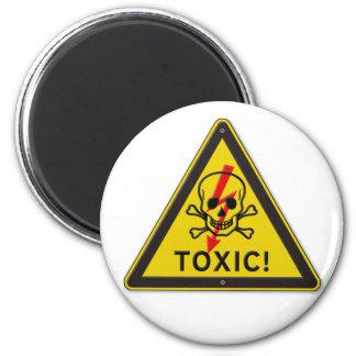 Toxic Skull and Crossbones Warning Road Sign Magnet