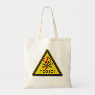 Toxic Skull and Crossbones Warning Road Sign Tote Bag