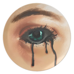 Toxic Tears Melamine Plate & Sad Heart Plates   Zazzle