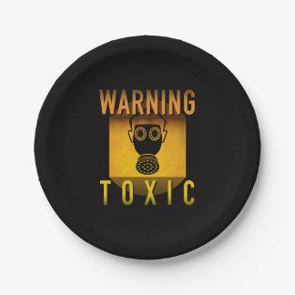 Toxic Warning Gas Mask Retro Atomic Age Grunge : Paper Plate