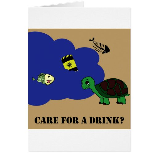 toxic water turtle greeting card