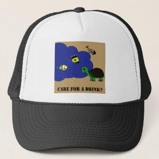toxic water turtle trucker hat