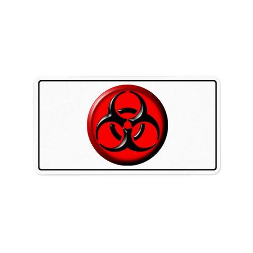 Tóxico del BioHazard - rojo Etiqueta De Dirección