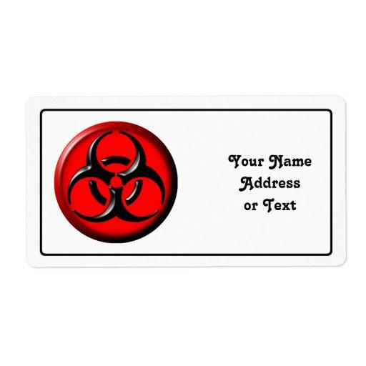 Tóxico del BioHazard - rojo Etiqueta De Envío