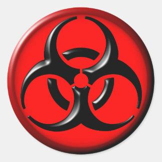 Tóxico del BioHazard - rojo Etiqueta Redonda
