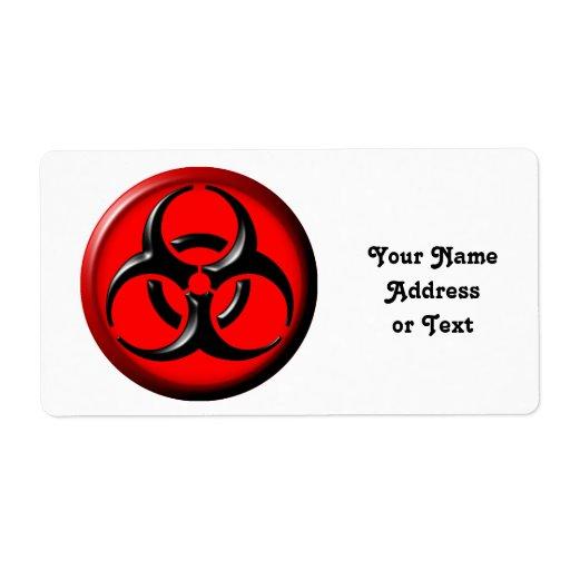 Tóxico del BioHazard - rojo Etiquetas De Envío