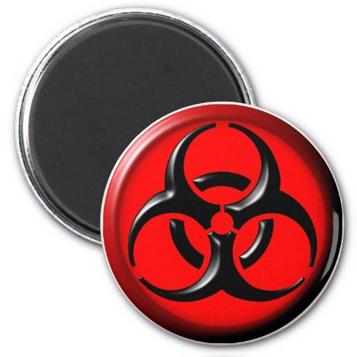 Tóxico del BioHazard - rojo Imán Redondo 5 Cm