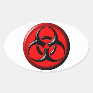 Tóxico del BioHazard - rojo Pegatina Oval Personalizadas