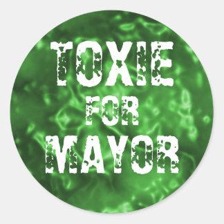 TOXIE FOR MAYOR CLASSIC ROUND STICKER