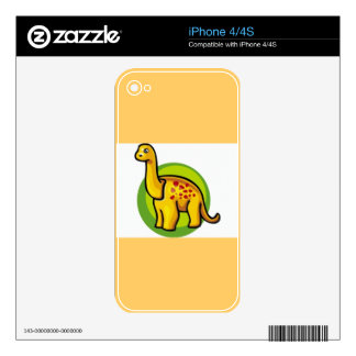 toy26121 CARTOON YELLOW ORANGE GREEN DINOSAUR TOY Decal For iPhone 4