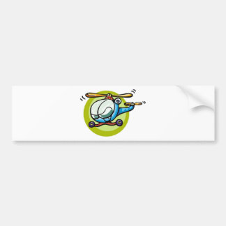 toy31121 TOY HELICOPTER CARTOON BLUES GREENS FUN Bumper Sticker