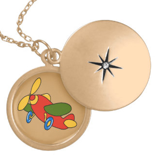 Toy Airplane Gold Plated Necklace