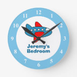 Toy airplane wall clock for boy bedroom or nursery