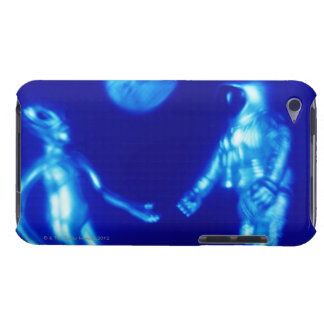 Toy astronaut and alien, close-up (blue tone, iPod touch case