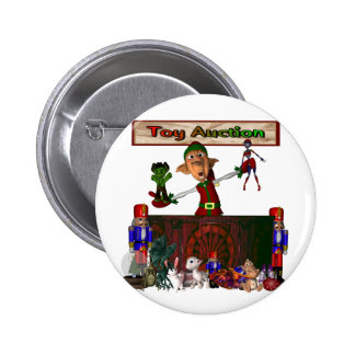 Toy Auction Elf holding toys and more at feed 2 Inch Round Button