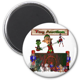 Toy Auction Elf holding toys and more at feed 2 Inch Round Magnet