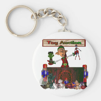 Toy Auction Elf holding toys and more at feed Basic Round Button Keychain