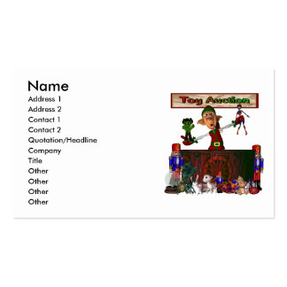 Toy Auction Elf holding toys and more at feed Business Card Template