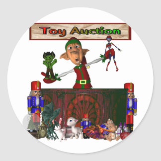 Toy Auction Elf holding toys and more at feed Classic Round Sticker