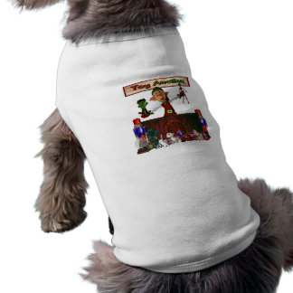 Toy Auction Elf holding toys and more at feed Dog Tee Shirt