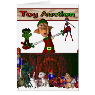 Toy Auction Elf holding toys and more at feed Greeting Card