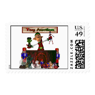 Toy Auction Elf holding toys and more at feed Postage Stamps