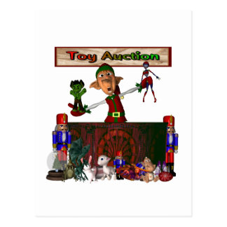 Toy Auction Elf holding toys and more at feed Postcards
