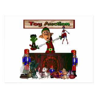Toy Auction Elf holding toys and more at feed Postcard