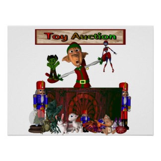 Toy Auction Elf holding toys and more at feed Poster