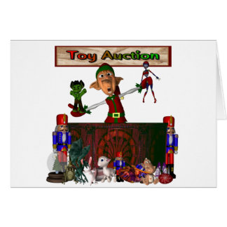 Toy Auction Elf holding toys and more at feed Stationery Note Card
