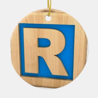 Toy Block R Ceramic Ornament