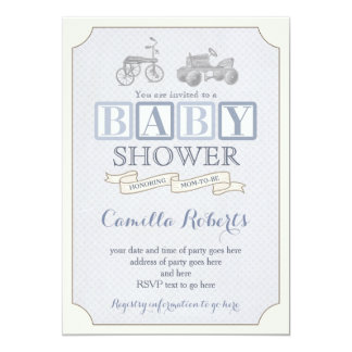 toy blocks baby shower invite, vintage pedal car card