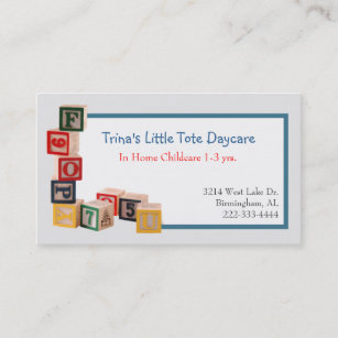 toy blocks daycare business card - Daycare Business Cards
