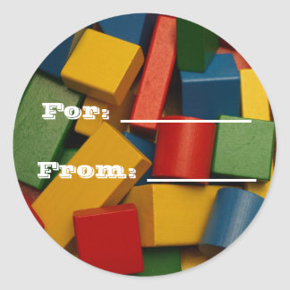 Toy Blocks Gift tags Classic Round Sticker