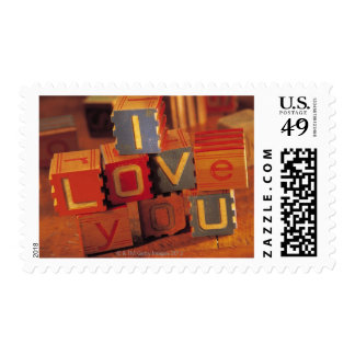 Toy blocks spelling out I love you Stamps