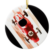 Toy Car on Wooden Track Ceramic Ornament