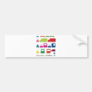 Toy cars and bus design bumper sticker