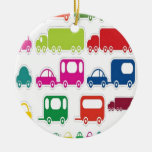 Toy cars and bus design christmas ornament