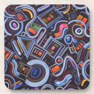 Toy Chest Playful Geometric Abstract Coaster