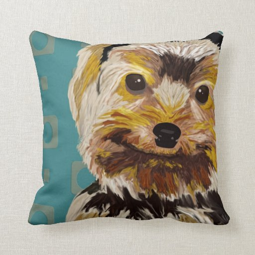 Toy Dog with Brown Yellow hair on turquoise back Throw Pillows