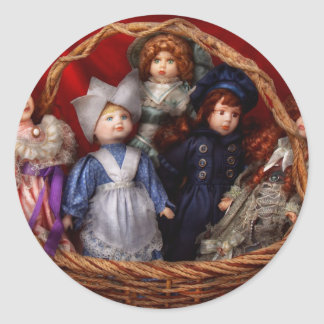 Toy - Dolls - A basket of Victorian dolls  Classic Round Sticker